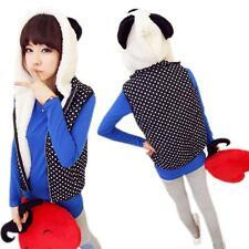 Girls Cute Cap Panda Ears Polka Dot Vest Hooded Zipper Sweater Coat Jacket Y-97