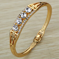 Fashion Gold Plated Hollow Crystal Bracelet Bangle Women Birthday Present