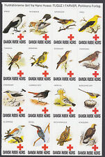 Denmark Poster Stamp Sheet Red Cross Birds CROW EAGLE KINGFISHER HOOPOE OWL