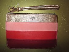 NEW Fossil Gift WRISTLET Clutch Wallet Handbag Top Zip Leather $50 Retail Red