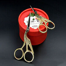 DIY Vintage Gold Tailor Sewing Embroidery Scissors Stainless Steel Crane Bird