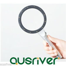 Hand Held 10-20x Magnifying Glass Lens Magnifier 12 Lights for Reading Newspaper