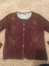J Jill Small Brown Cardigan cashmere blend silk lined Floral Embroidered Sweater
