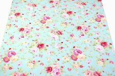 """FQ Vintage Style Pink Rose (2"""") on Celeste Cyan Blue 100% Cotton Fabric Free S&H"""