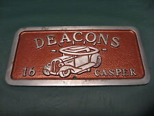 "Vintage 50's or 60's ""DEACONS 16 CASPER"" Cast Aluminum Hot Rod Car Club Plaque"