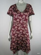 $330 TOCCA 8 M 100% Silk Burgundy Multi Floral Print Femme Sexy Swing Dress