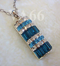 18KGP Rhodium Plated Diamond Crystal Pendant Necklace Blue Rantai Krystal