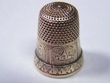 Vintage 14 k Gold Thimble Engraved 14K size 8 4.9 grams