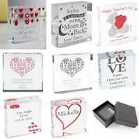 PERSONALISED Engraved Crystal Token Valentines Gift Present Idea For Her For Him