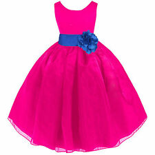 FUCHSIA HOT PINK ORGANZA FLOWER GIRL DRESS PAGEANT RECITAL WEDDING RECITAL KIDS