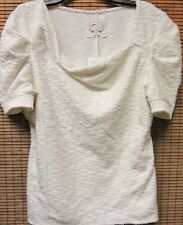 NEW With Tag Anthropologie 9h15 stcl Asymmetrical IVORY Textured Top Size MEDIUM