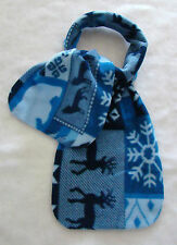 "New Winter Blue Scarf Fleece Fabric Deers Snow Flake Bears Wolf 54"" Long 9"" Wide"