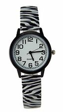 Women's Zebra Stretch Band Watch Black Bezel Easy Read Dial