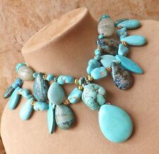 TURQUOISE MEDLEY Green Aventurine Jade Pendant NECKLACE CHUNKY Magnesite Azurite