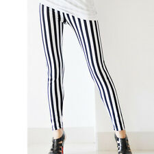 Skinny Chic Look Vertical Stripe Zebra Leggings Pants Autumn Foe Women Girls