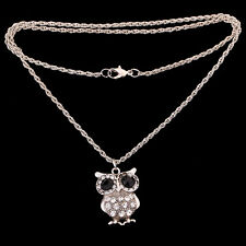 Silver Tone Black Crystal Eye Owl Pendant sweater Chain Necklace xmas Jewelry
