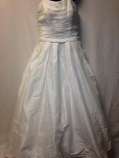 Wedding Dress David's Bridal Sz 8 White Strapless Bow Pockets Princess Org. 450