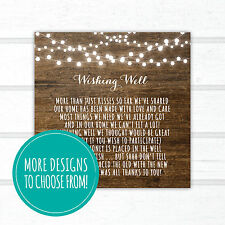 5 x Wishing Well Cards | Rustic Wood Fairy Lights Kraft Vintage Country Floral