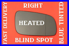 VW GOLF 4 MK4 BORA DOOR WING MIRROR GLASS BLIND SPOT BLUE HEAT RIGHT