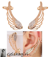 Ear Cuff Fashion Women's Stud CZ Gem Earrings Gold Filled Angel Wings UK Seller