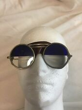 Vintage Willson Safety Glasses, Leather Shields, Round, Half Tint Blue Lenses