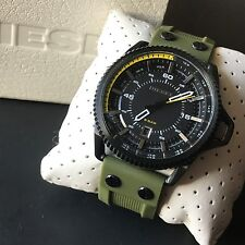 Diesel Men's Rollcage Green Silicone Strap Black Dial Date Watch DZ1758 NWT