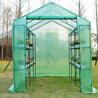 Outsunny 8'x6'x7' Garden Green House Flower Plant Walk In Greenhouse w/ Shelves