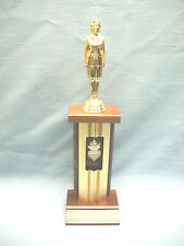 military woman trophy solid wood base metal column