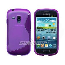 Samsung Galaxy S Duos GT-S7562 Gel TPU Silicone Case S-line Skin Cover of Purple
