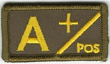 Military Olive Green Border Yellow Text Blood Type A+ Positive Hook Patch