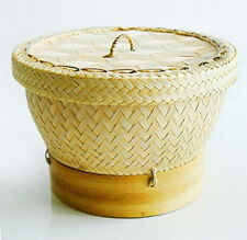 Thai Sticky Rice Cooker Steamer Bamboo Basket Lid Food Dim sum Pasta Cookware