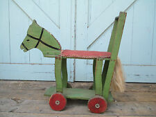 Antique Wooden Folk Art Horse Push Toy Americana EARLY 1900's  APPLE GREEN