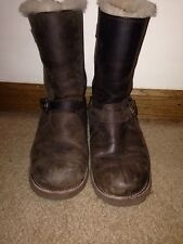 "UGG Australia Women's Brown Leather ""Kensington"" Boots Size 7"
