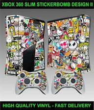 XBOX 360 KONSOLE SLIM STICKERBOMB VERSION II SKIN & 2 CONTROLLER FOLIEN