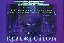 DESIRE Rave Flyer Flyers 10/4/98 A5 Bagleys Warehouse Kings Cross London N1