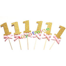 12X 1st birthday number Cake cupcake topper Baby Shower Party Decoration supplie