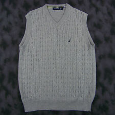 Nautica Mens V-Neck Pullover Cable Knit Sweater Vest Size Large Gray Cotton