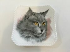 """Royal Adderly Bone China England Collectible Square Gray Cat Plate Dish, 4"""" x 4"""""""