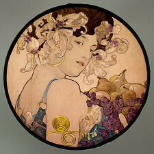 Mucha, glass painting, kilnfired, handpainted,Fruit, stained glass, suncatcher