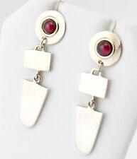 Vtg Sterling Silver Signed Forbes 925 Red Garnet Dangle Earrings