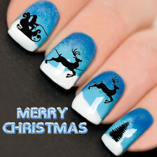 Nails WRAPS Nail Art Water Transfers Decals Christmas Santa Sleigh Tree YD759