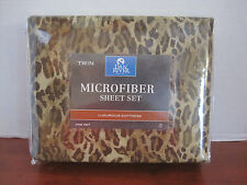 Dan River TWIN SHEET SET Microfiber LEOPARD PRINT Gold Brown New Original Pkg
