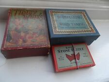 3 x Vintage Games/Puzzles Tidley Winks,Stone Puzzle ,Wordmaking & Word Taking