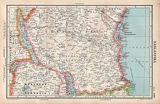 1952 MAP ~ AFRICA ~ TANGANYIKA ~ NORTHERN RHODESIA ZANZIBAR