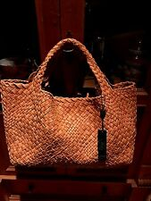 FALOR Firenze Woven COGNAC RUST Leather X Large Tote  Handbag W/Wrist Pouch NWT