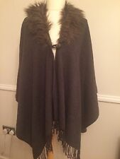 Ladies Charcoal Grey Knitted Poncho Cape One Size NEXT