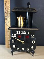Spartus Fireplace Vintage Clock Made In USA Flames Black Tea Pot Stove Oven