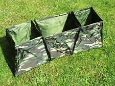 CAMPING STORAGE BINS in CAMOUFLAGE - SET OF 3 - VELCRO JOIN  STORES FOLDED FLAT