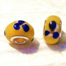 Aufwendig gearbeitete Muranoglas Perlen,gelb  mit tollem Design, European Bead