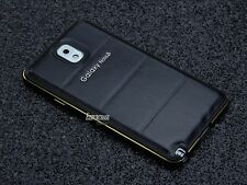 Luxury Leather Back + Aluminum Metal Bumper Case Cover For Samsung Galaxy